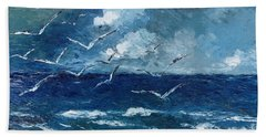 Bath Towel featuring the painting Seagulls Over Adriatic Sea by AmaS Art