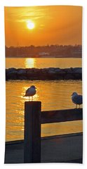 Seaguls At Sunset Bath Towel