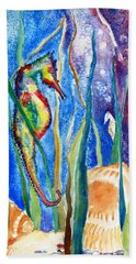 Seahorse And Shells Hand Towel by Carlin Blahnik