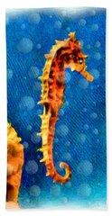Hand Towel featuring the digital art Seahorse by Daniel Janda