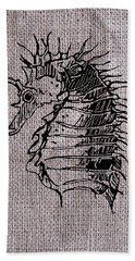 Seahorse On Burlap Hand Towel