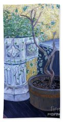 Bath Towel featuring the painting Sean's Planter by Brenda Brown