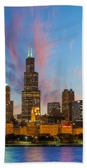 Bath Towel featuring the photograph Sears Tower Sunset by Sebastian Musial