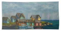 Seascape Boat Paintings Hand Towel