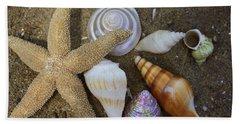 Seashells And Star Fish Hand Towel by Dora Sofia Caputo Photographic Art and Design