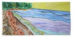 Hand Towel featuring the painting Seashore Bright Sky by Stormm Bradshaw