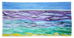 Hand Towel featuring the painting Seashore Blue Sky by Stormm Bradshaw
