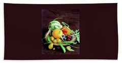 Seasonal Fruit And Vegetables Hand Towel by Romulo Yanes