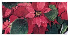 Bath Towel featuring the painting Seasonal Scarlet 2 by Barbara Jewell