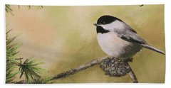Season's Greetings Chickadee Hand Towel