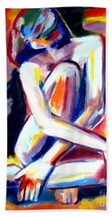 Hand Towel featuring the painting Seated Lady by Helena Wierzbicki