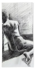 Seated Male Back Hand Towel