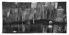 Seattle Black And White Hand Towel by Dick Bourgault