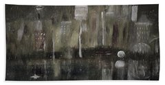 Seattle In The Rain Cityscape Hand Towel by Dick Bourgault