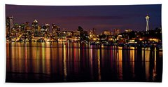 Seattle Night Reflections Bath Towel
