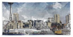 Seattle Skyline Freeform Bath Towel