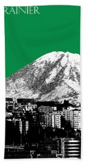 Seattle Skyline Mt. Rainier - Forest Green Hand Towel