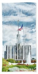 Bath Towel featuring the painting Seattle Temple 1 by Greg Collins