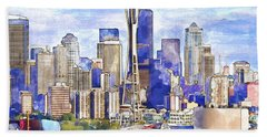 Seattle View In Watercolor Hand Towel
