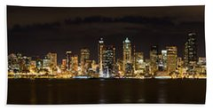 Hand Towel featuring the photograph Seattle Waterfront At Night Panoramic by Chris McKenna