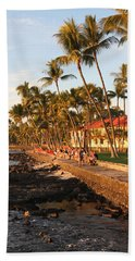Seawall At Sunset Hand Towel by Denise Bird