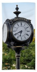 Secaucus Clock Marras Drugs Hand Towel by Susan Candelario