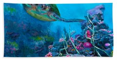 Secret Sanctuary - Hawaiian Green Sea Turtle And Reef Bath Towel