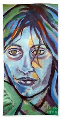 Hand Towel featuring the painting Self Portrait by Helena Wierzbicki