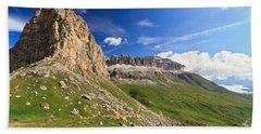 Hand Towel featuring the photograph Sella Mountain And Pordoi Pass by Antonio Scarpi