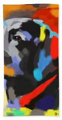 Hand Towel featuring the painting Dog Sem by Go Van Kampen