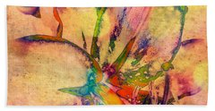 Springtime Floral Abstract Bath Towel