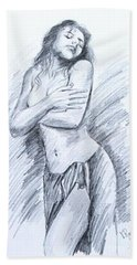 Hand Towel featuring the painting Semi Nude by Ragunath Venkatraman
