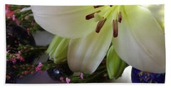 Hand Towel featuring the photograph Send The Light Lily With Marbles by Bonnie Willis
