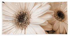 Sepia Gerber Daisy Flowers Hand Towel by Jennie Marie Schell