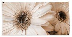 Sepia Gerber Daisy Flowers Bath Towel