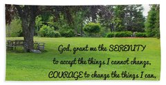 Serenity Prayer And Park Bench Hand Towel