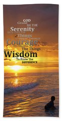 Serenity Prayer With Sunset By Sharon Cummings Hand Towel