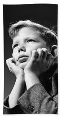 Serious Boy With Chin In Hands, C.1940s Hand Towel