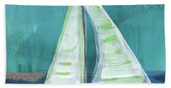 Set Free- Sailboat Painting Hand Towel