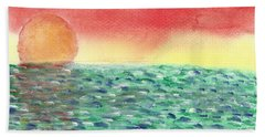 Bath Towel featuring the painting Setting Sea by John Williams