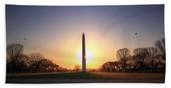 Setting Sun On Washington Monument Hand Towel