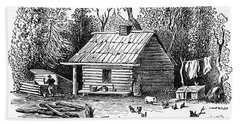 Settler's Log Cabin - 1878 Bath Towel