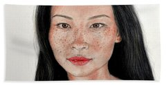 Bath Towel featuring the drawing Sexy Freckle Faced Beauty Lucy Liu by Jim Fitzpatrick