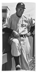 Sf Seals Manager Lefty O'doul Hand Towel by Underwood Archives