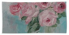 Shabby Chic Pink Roses Oil Palette Knife Painting Hand Towel