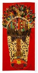 Bath Towel featuring the tapestry - textile Shaka Zulu by Apanaki Temitayo M