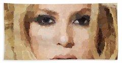 Shakira Portrait Hand Towel by Samuel Majcen