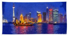 Shanghai During Dusk Time Hand Towel