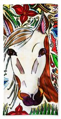 She Grazes Where Flowers Grow - Horse Hand Towel