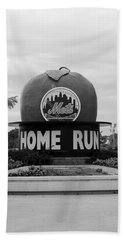 Shea Stadium Home Run Apple In Black And White Bath Towel by Rob Hans